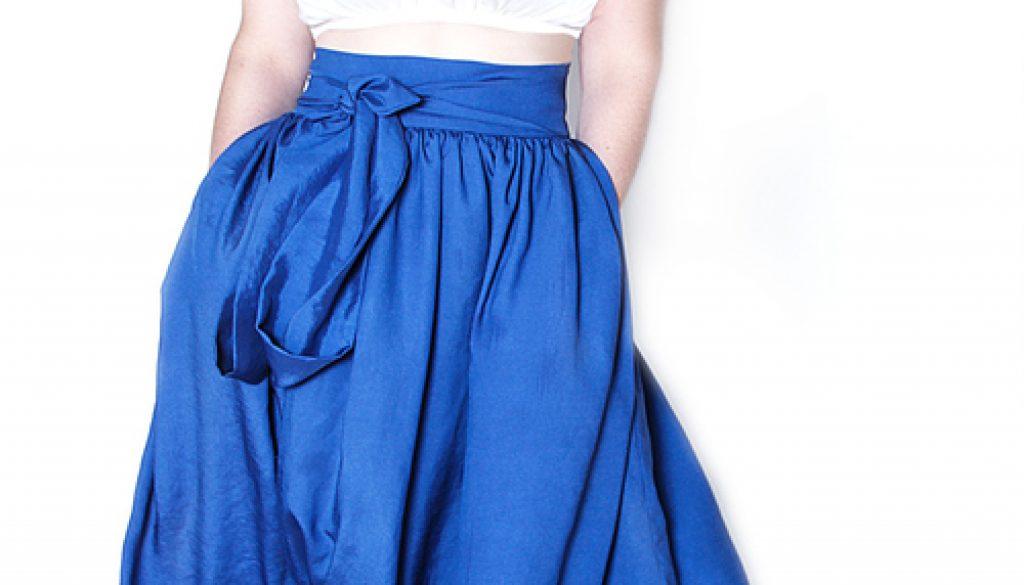 Jibri royal blue high waist belted maxi skirt