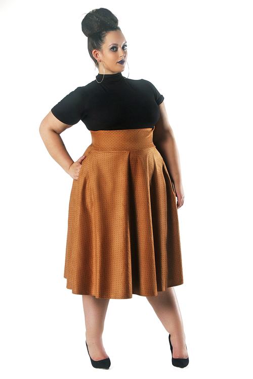 Tan mid length swing skirt