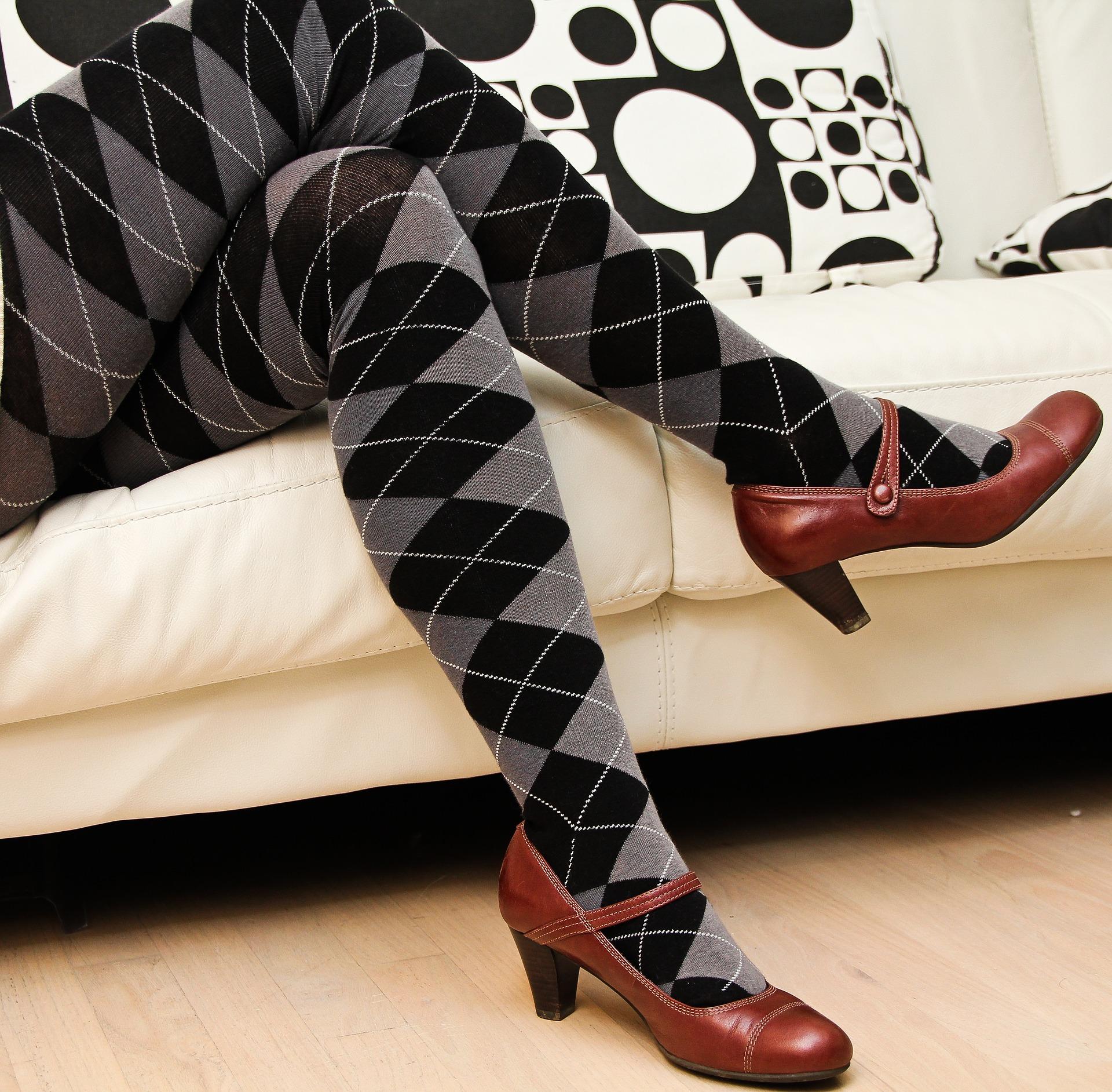 Argyle stockings and claret heeled mary jane shoes